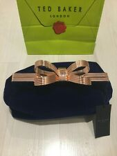 Ted Baker Navy Velvet Clutch Bag Rose Gold T Bow RRP £109 : Perfect Gift :  New