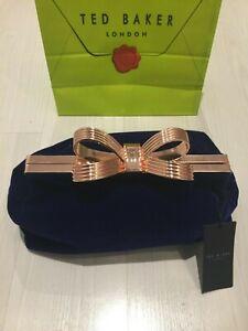 """Ted Baker Ladies Navy Velvet Clutch Bag Rose Gold """"T"""" Bow RRP £109 : New"""