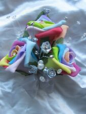 Rainbow Rose Pin On Corsage Prom / Wedding Flowers Foam Rose Bride Maid Mother