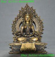 Old Tibet buddhism bronze Kwan-Yin Guanyin Bodhisattva Amitabha Buddha statue