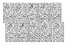 Lot of 10 - 2018 $1 1oz Silver Australian Bullion Dragon Rectangular Coin (Bar)