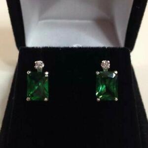 2.2ct Green Emerald Diamond Elegant Women Drop Earrings 14k White Gold Over