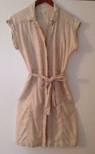 CASLON Safari Shirt Dress (XS) Linen Beige Button Down Pockets Belt