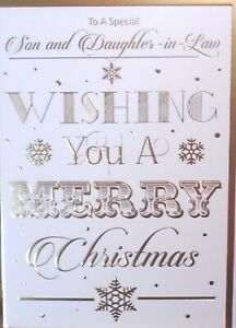 SON & DAUGHTER IN LAW CHRISTMAS CARD ~ Traditional Classic Snowflakes