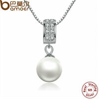 Bamoer S925 Sterling Silver Necklace with Pearl Pendant and Clear Cz For Women