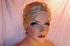 "Gold Stretch Metallic Chemo Turban Hat ""Something4you"" Alopecia Hijab"