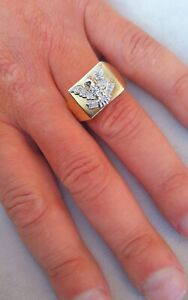 9ct Gold Mens Diamond Encrusted Eagle Signet Ring  Size U