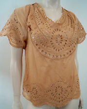 Etoile Isabel Marant Koralle Pink Crochet Scalloped Hem Kurzarm Top Sz:0 UK8
