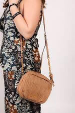 Jessica Simpson Beige camel coloured ruffle messenger shoulder bag