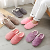 Women Men Winter Warm Anti-Slip Fleece House Home Indoor Slip On Slippers Shoes