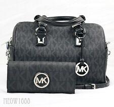 New Michael Kors GRAYSON Black Logo Satchel Bag and FULTON Wallet Set $526