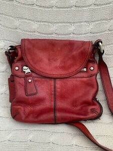 Fossil Red Leather handbag. Across the body. Great condition.