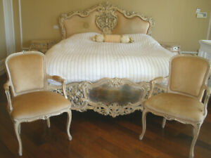 $30K ROYALTY 7PC ITALIAN ANTIQUE CARVED BEDROOM SET 2 CHAIRS,2 NIGHTSTAND,VANITY