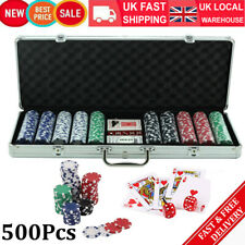 More details for new 500pcs vegas/texas sets poker token chips card casino games w/ carry case uk