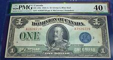 PMG 40  -Dominion of Canada 1923   $1,BLUE SEAL