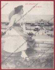 RIMINI CITTÀ 201 SPIAGGIA BAGNI - DONNINA Cartolina DOPPIA RIPIEGATA viagg. 1906