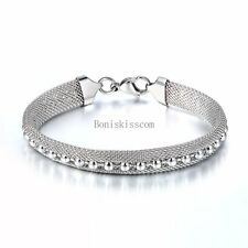 Stainless Steel 9mm Mesh Bracelet w Beads Charm Women's Silver Bangle 7.6 inch