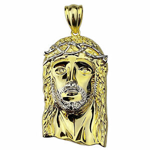 """14K Gold Plated Over 925 Silver Real Natural Diamond Jesus Pendant Large 2.5"""""""