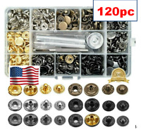 120 PCS Snap Fasteners Kit 12.5mm Metal Buttons Press Studs With Tools US STOCK