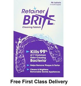 Retainer Brite 96 Tablets, Mouth guard Denture Cleaner Plaque remover - 1 Box