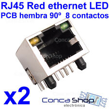 2 X CONECTOR RED ETHERNET 8 PINS RJ45 HEMBRA PCB MONTAJE A 90º CON LEDS - ESPAÑA