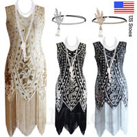 1920s Flapper Dress Great Gatsby Sequin Fringe Gown Prom Vintage Tassels Dresses