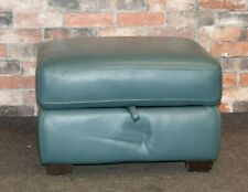 WORLD OF LEATHER STORAGE FOOTSTOOL IN TEAL LEATHER (556)