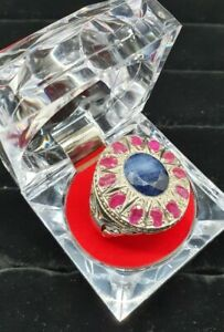 12 Ruby & 1 Sapphire Mens High Quality Sterling Silver Ring - Yaqut and Neelam