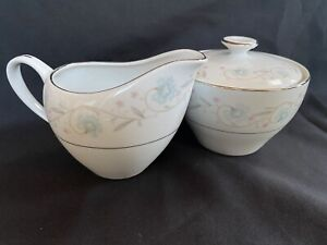 Japan ENGLISH GARDEN 1221 Platinum Sugar And Creamer Fine China