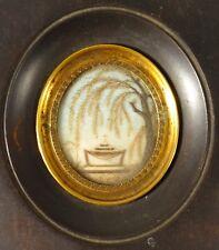 Miniature Travail cheveux paysage Temple Croix cadre bois Restauration XIXème