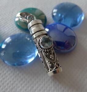 Sterling Silver & Blue Topaz Prayer Box Pendant Keepsake Jewellery SilverandSoul