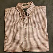 Eddie Bauer Mens Dress Shirt Tall Large Red And Beige Plaid 80s Ply 100% Cotton