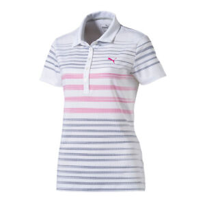 Women's PUMA Golf Dot Stripe Polo Peacoat XSmall Cat Logo