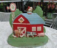 "Vintage Large Cast Iron Painted Barn Scene Door Stop/ Bookend~ 9""× 8"""