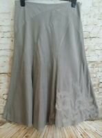MONSOON Womens Beige Floral Embroidered Needlecord A-Line Midi Skirt Size 14