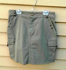 TARK 1 Camp Mini Skirt Khaki Green Soft Organic Cotton , US 6 , Made In Paris