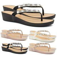 New Womens Low Wedge Heel Diamante Sandals Ladies Toe Post Flip Flops Shoes Size