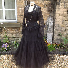 WHITBY GOTH STEAMPUNK VICTORIAN STYLE LONG BLACK NET MAXI SKIRT FREESIZE (1769)