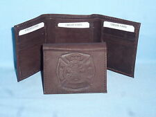 FIRE FIGHTER /  FIREMAN   Leather TriFold Wallet    NEW    dkbr 3  m1
