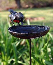 Delightful RSPB metal Red Robin Border Stake Birdbath Tilnar Art Fair Trade