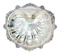 Early 20th Century Large Antique Silver Plated Shell Footed Dish
