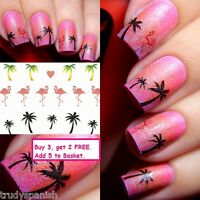 Nail Art Water Decals Transfers Stickers Summer Palm Trees Flamingo Gel Polish