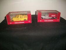 VTG (2) Coca-Cola Yellow Barrel & Silver Delivery Trucks TRAIN ACCESSORY ~NIB