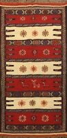 Tribal Geometric Sumak Kilim Oriental Area Rug Wool Flat Woven Traditional 3'x6'