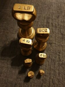Vintage brass bell style weights for scales - Full set, Imperial weights
