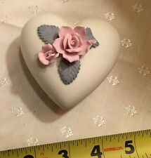 Small Porcelain Heart Shaped Box W Floral Accent