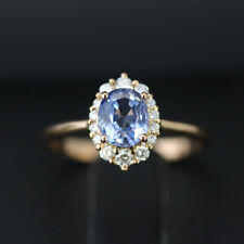 3.05 Ct Oval Blue Sapphire Wedding Ring 14K Yellow Gold Diamond Rings Size M N O
