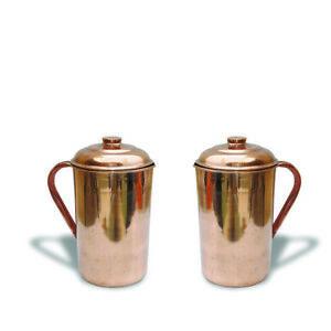 2 X Kupfer Wasser Krug 1.5, I (1493ml) Natürlich Ayurveda Vorteile Für Health