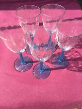 20's 30's  art deco twist Blue Stem water wine glasses Set Of 5