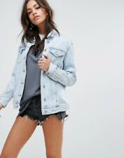 New Look Bling 80's Wash Denim Jacket  Light Blue Uk 6 RRP £166.00